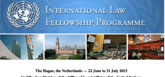 2015 United Nations International Law Fellowship Programme – The Hague, the Netherlands