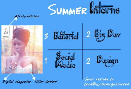Ayiba Magazine Summer Internship- 8 Available Positions