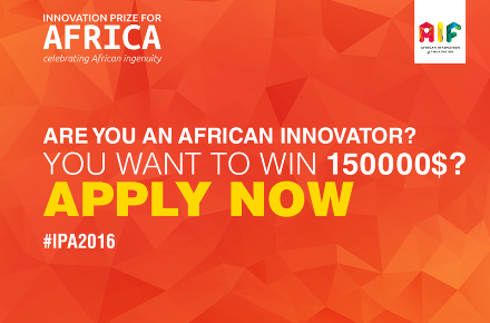 2016 Innovation Prize For Africa -$150,000 USD in Cash Prize