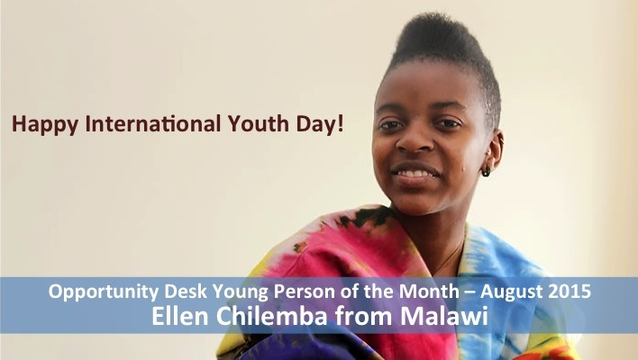 Ellen Chilemba from Malawi is the Young Person of the Month for August 2015