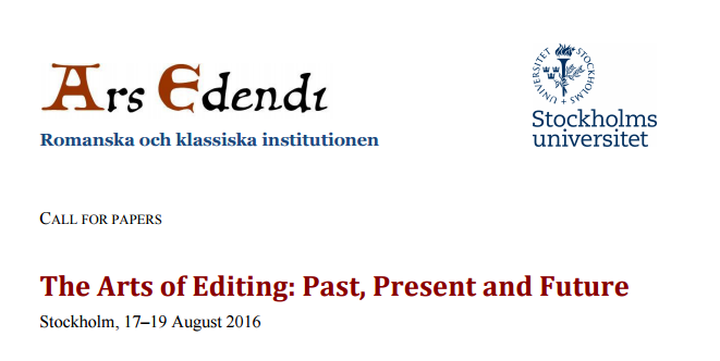 Call for Papers – The Arts of Editing: Past, Present and Future Conference