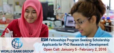 2016 World Bank Robert S. McNamara Fellowships Program (Up to  $25,000 Funds)