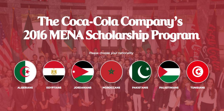 Apply: Coca-Cola MENA Scholarship Program 2016 (For 100 Students)
