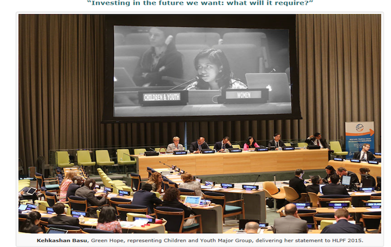 Youth statement at UN HLPF