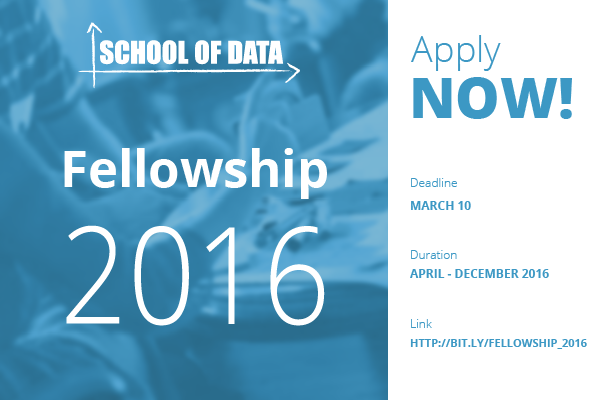 School of Data Fellowship 2016 – Monthly Stipend of $1000