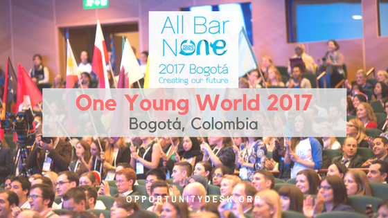 All Bar None Scholarship to attend One Young World Summit 2017 in Bogotá, Colombia
