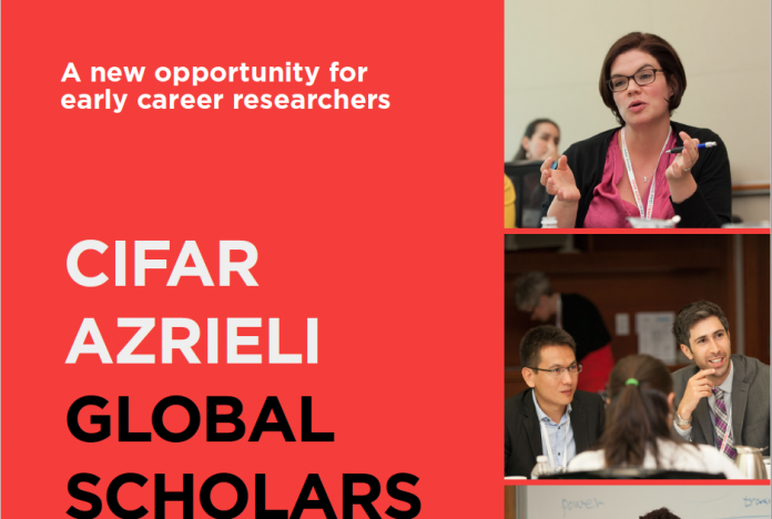 CIFAR Azrieli Global Scholars Program 2020-2022 for Early-career Researchers (up to $100,000 CAD)