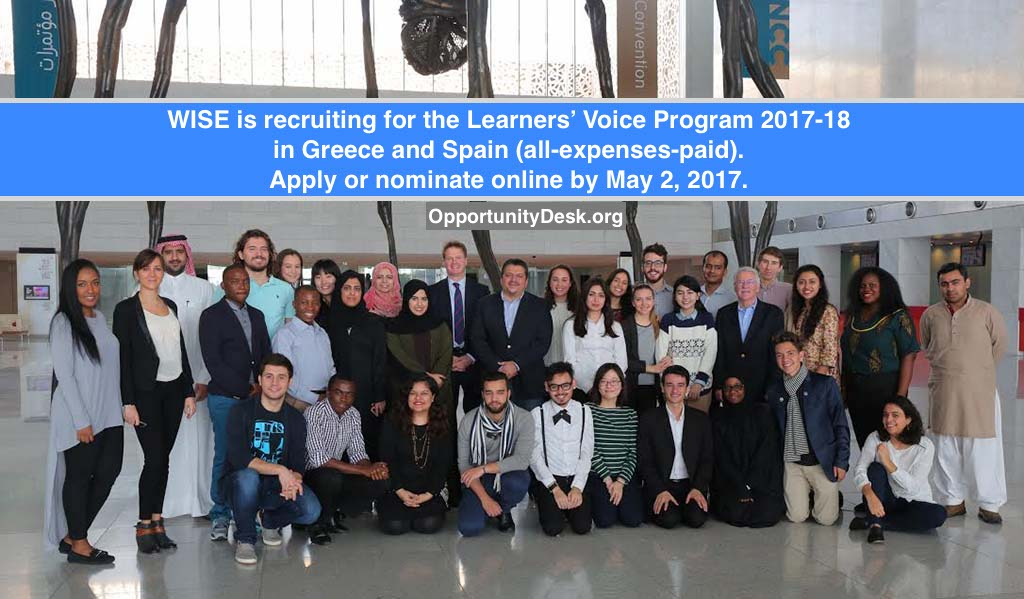 WISE Learners' Voice Program in Greece and Spain 2017-18 (All Expenses Covered)