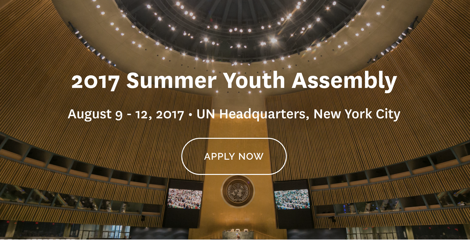 Apply Summer Youth Assembly 2017 at UN Headquarters in New York Scholarship Available