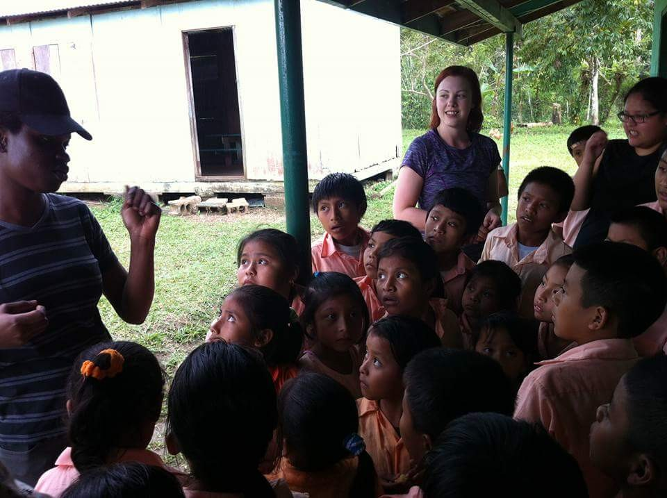 Brenda addressing primary school children in Laguna community in Toledo