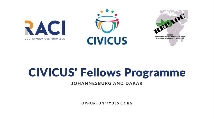 Apply for CIVICUS Fellows Programme 2017 – Dakar, Senegal ($36,000 Annual Salary)