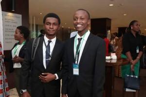 Adekunle Adepajo and Collins Kipkemoi during the awarding ceremony.