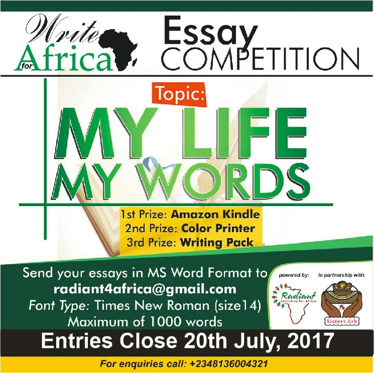 Write for Africa Essay Competition 2017 (Paid Internship for Winners)