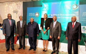 Liz Guantai with African leaders during the awarding ceremony in Tanzania.