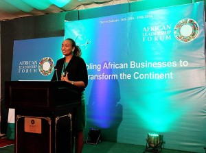 Liz Guantai reading her essay during the 2016 African Leadership Forum.