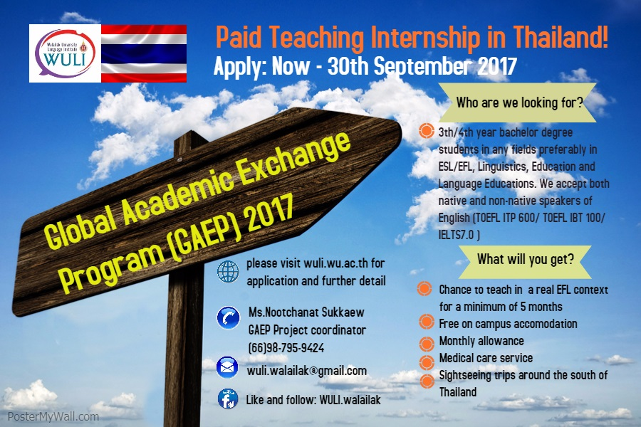 Global Academic Exchange Program 2017 (Paid Teaching Internship in Thailand)