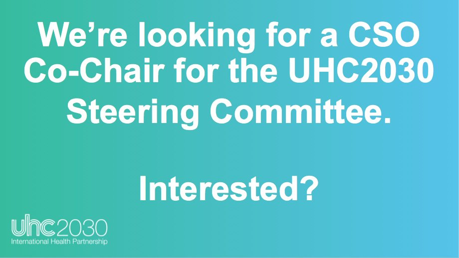 Call for CSO Co-Chair of the UHC2030 Steering Committee