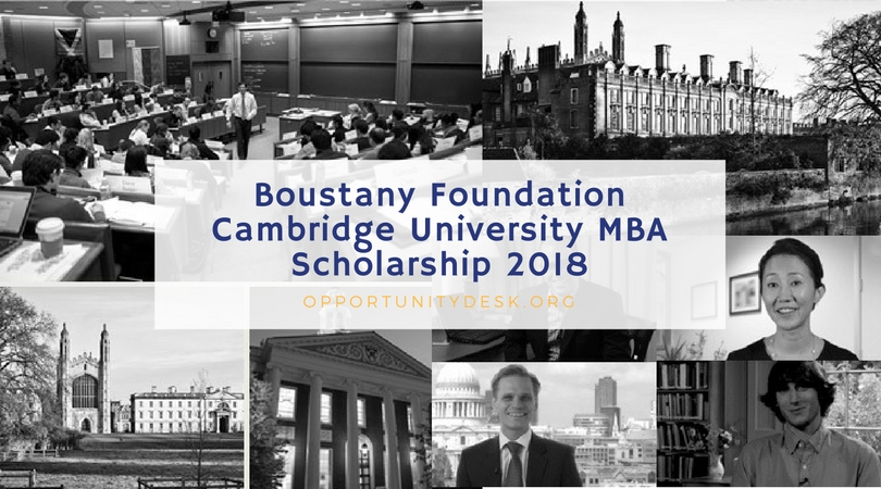 Boustany Foundation Cambridge University MBA Scholarship 2018