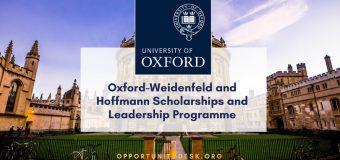 University of Oxford Postgraduate Scholarships 2019/20 (Apply for Weidenfeld-Hoffmann Scholarships and Leadership Programme)