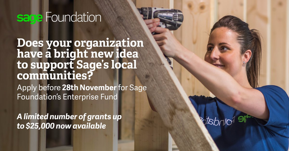 Sage Foundation's Enterprise Fund for Non-profits 2017 (Up to $25,000 Grant)