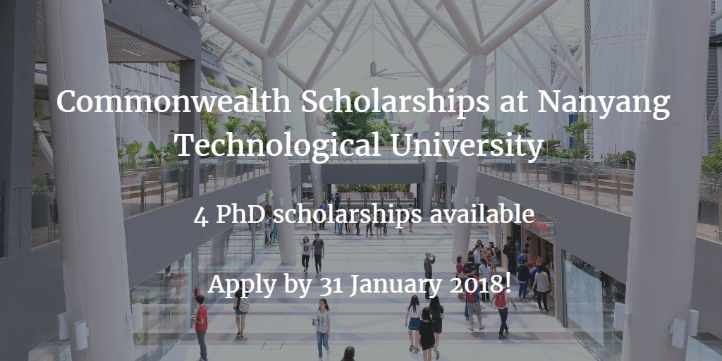 Commonwealth Scholarships for PhD Study at Nanyang Technological University, Singapore