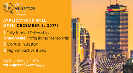 Our Generation Speaks Fellowship Program 2018 in Boston, MA (fully-funded)