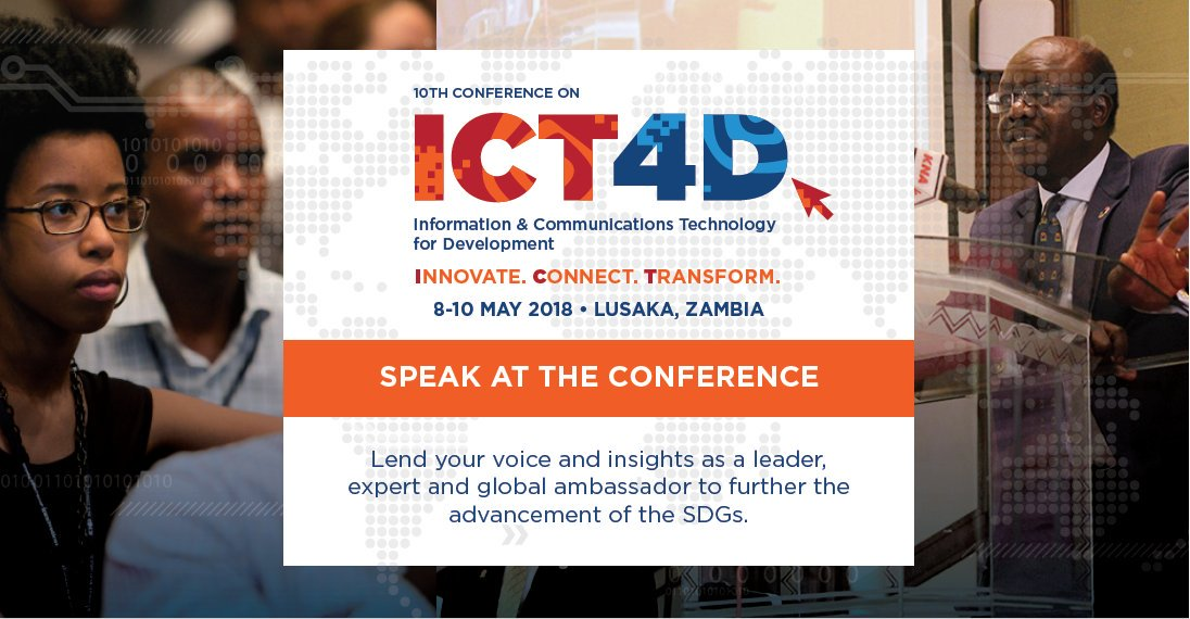 Apply to Speak at the 10th ICT4D Conference in Lusaka, Zambia (Scholarship Available)