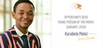 Karabelo Maloi from Lesotho is OD Young Person of the Month for January 2018!