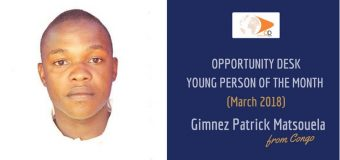 Gimnez Patrick Matsouela from Congo is OD Young Person of the Month for March 2018!