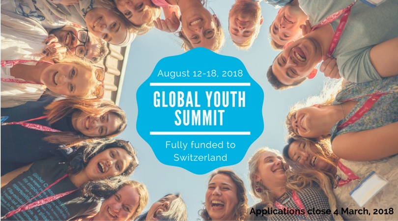 Apply: Global Changemakers' Global Youth Summit 2018 in Switzerland (fully-funded)