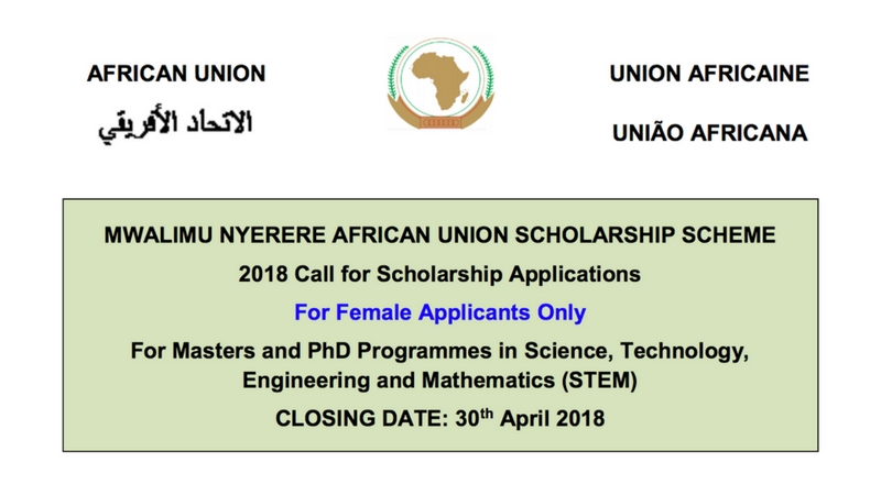 Mwalimu Nyerere African Union Scholarship Scheme 2018 for Masters and PhD Programmes in STEM Fields