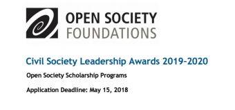 Apply for Civil Society Leadership Awards 2019/20 (Fully-funded Master's Scholarships)
