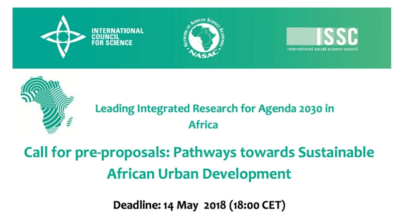 ICSU Call for pre-proposals: Pathways towards Sustainable African Urban Development