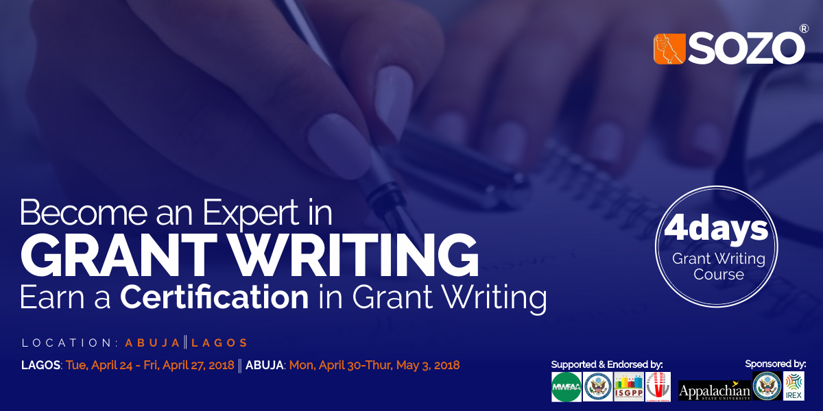 Sozo-AppState Grant Writing Course in Nigeria 2018