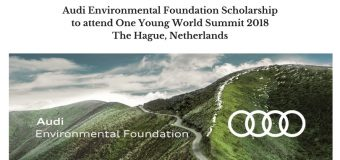 Audi Environmental Foundation Scholarship to attend One Young World Summit 2018 in The Hague, Netherlands