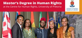 Scholarships for Master's in Human Rights & Democratisation in Africa 2018 at the Centre for Human Rights