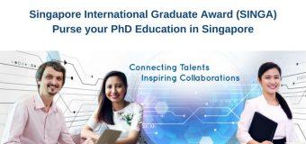 Singapore International Graduate Award (SINGA) for PhD education in Singapore 2018