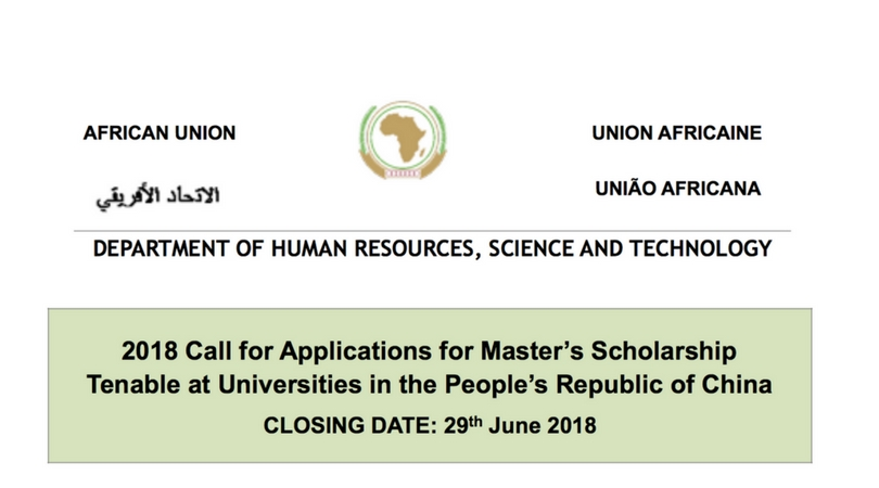 Government of The People's Republic of China Master's Scholarship for Africans to Study in China 2018