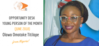 Olowo Omotoke Titilope from Nigeria is OD Young Person of the Month for June 2018!