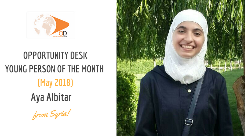 Aya Albitar from Syria is OD Young Person of the Month for May 2018!