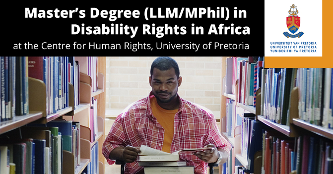 Centre for Human Rights Scholarship for Master's Degree in Disability Rights in Africa 2019 at University of Pretoria
