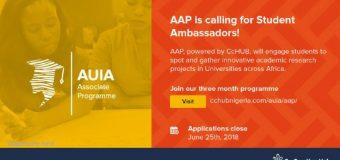 Co-creation Hub's AUIA Associate Programme seeks Student Ambassadors 2018