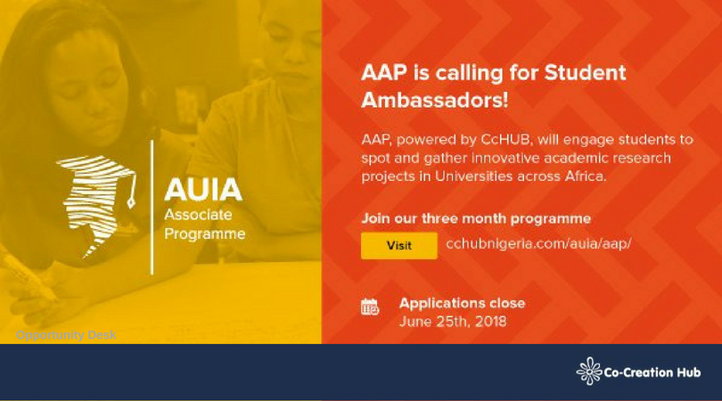 Co-creation Hub's AUIA Associate Programme seeks Student Ambassadors 2018