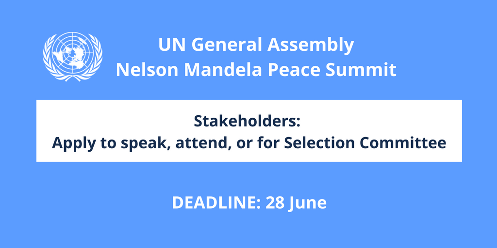 Apply to speak or attend Nelson Mandela Peace Summit 2018 at United Nations HQ in New York