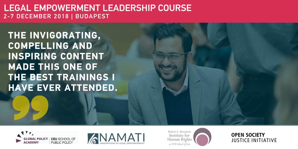 Apply for the 4th Legal Empowerment Leadership Course in Budapest (Scholarships Available)