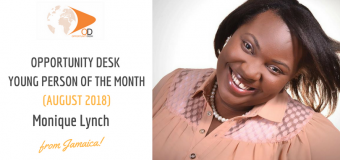 Monique Lynch from Jamaica is OD Young Person of the Month for August 2018!