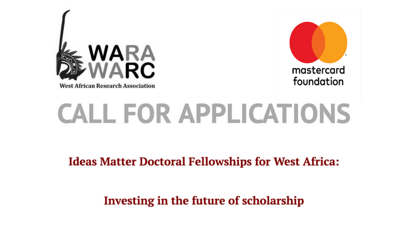 WARA/Mastercard Foundation Ideas Matter Doctoral Fellowships for West African Scholars 2018