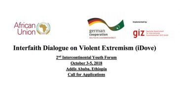 Interfaith Dialogue on Violent Extremism (iDove) 2nd Intercontinental Youth Forum 2018 – Addis Ababa, Ethiopia