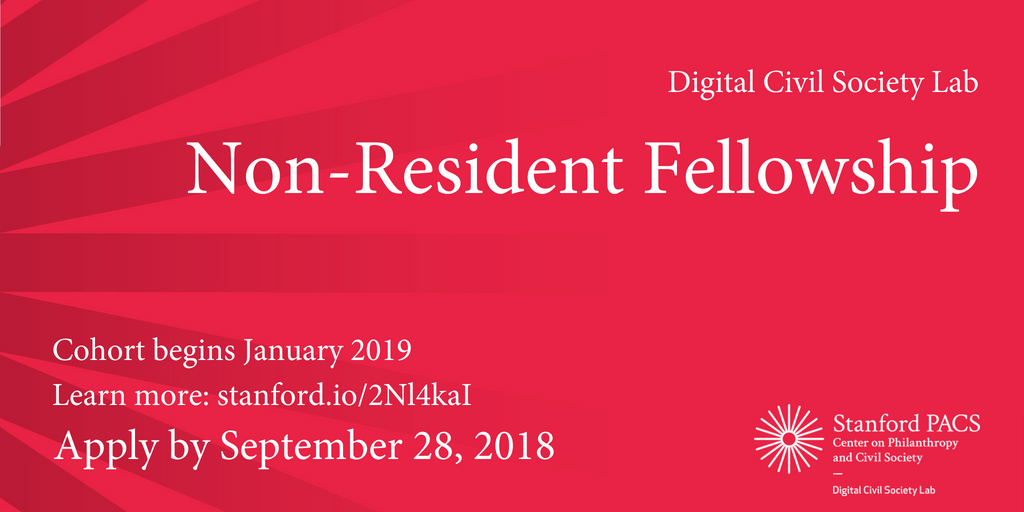 Digital Civil Society Lab Non-Resident Fellowship 2018/19 for Social Sector Leaders (Funded to Stanford + $20,000 stipend)