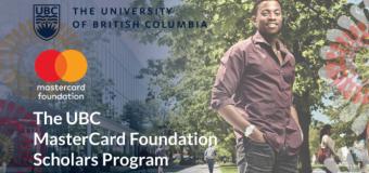 Mastercard Foundation Scholars Masters' Degree Program 2019 at University of British Columbia